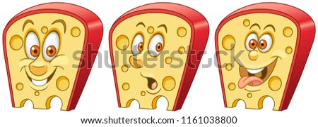 Cheese. Fast Food concept. Emoji Emoticon collection. Cartoon characters for kids coloring book, colouring pages, t-shirt print, icon, logo, label, patch, sticker.