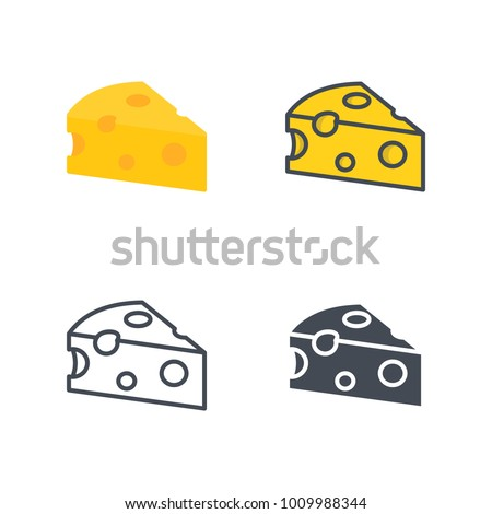 Cheese flat line solid icon
