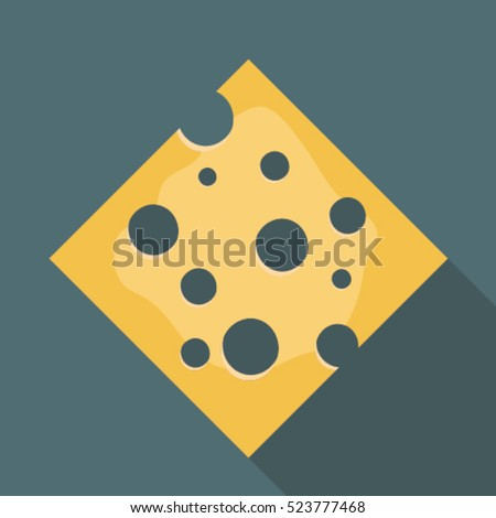 Cheese flat style realistic vector illustration.