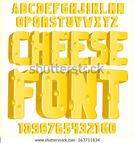 Cheese font 3d