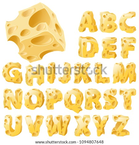 Cheese full letters set. Vector typeface alphabet.