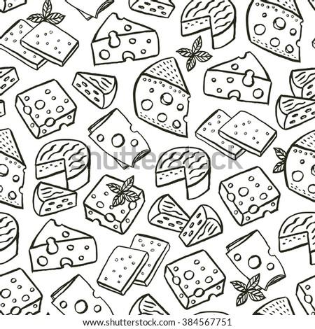 Cheese hand drawn seamless pattern