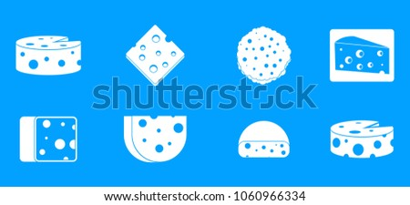 Cheese icon set. Simple set of cheese vector icons for web design isolated on blue background