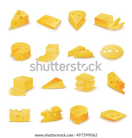 Cheese Icons Set - Isolated On White Background - Vector Illustration