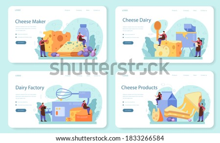 Cheese maker concept web banner or landing page set. Professional chef making block of cheese. Cooker in professional uniform, holding a cheese slice. Cheese production. Isolated vector illustration