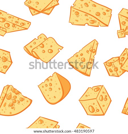 Cheese pattern including seamless on white background. Hand drawn cheese vector. cheese with clipping path.