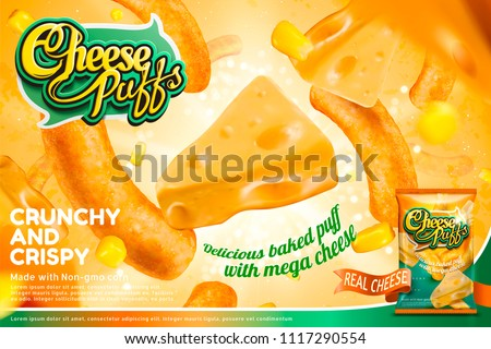 Cheese puffs ads with ingredients and corn curls floating in the air, glittering background in 3d illustration