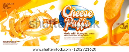 Cheese puffs banner ads with delicious sause swirling in the air, 3d illustration