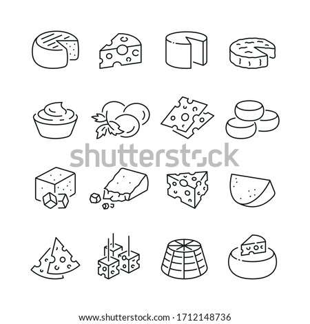 Cheese related icons: thin vector icon set, black and white kit