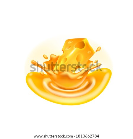 Cheese Sauce Cheese Drop in the Melted Cheese 3d Vector Illustration