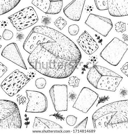 Cheese seamless pattern. Hand drawn vector illustration.  Vintage food background. Engraved style.  Different cheese kinds background.