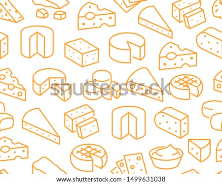 Cheese seamless pattern with flat line icons. Vector background, illustrations of parmesan, mozzarella, yogurt, dutch, ricotta, butter, blue chees piece for dairy product store. Orange, white color.