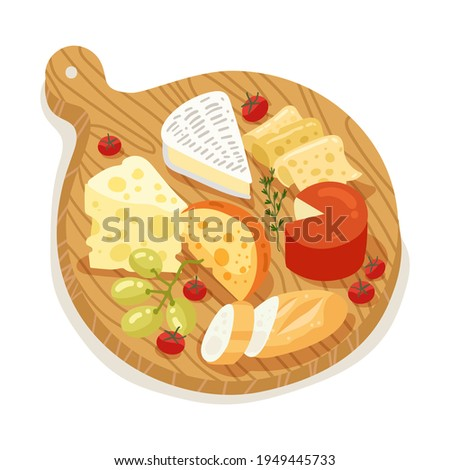 Cheese set. Gourmet composition natural cheese. Cheese assortment Protein milk food. Italian, dutch, french or swiss cuisine. Slice or piece cheese product set. Vector illustration.