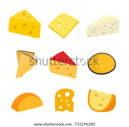 Cheese set. Vector flat cartoon character illustration icon design. Isolated on white background. type of cheese concept