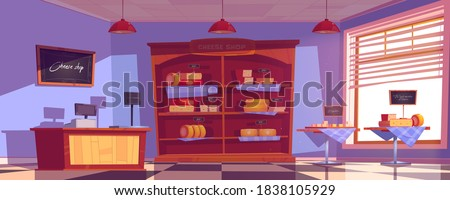 Cheese shop interior with cheddar and gouda slices on tables and shelves. Vector cartoon illustration of empty cheese store with cashbox and scales on counter. Dairy food market inside