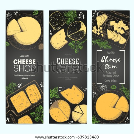 Cheese top view, vertical banners collection. Food menu design with colorful cheese. Vintage hand drawn sketch vector illustration.
