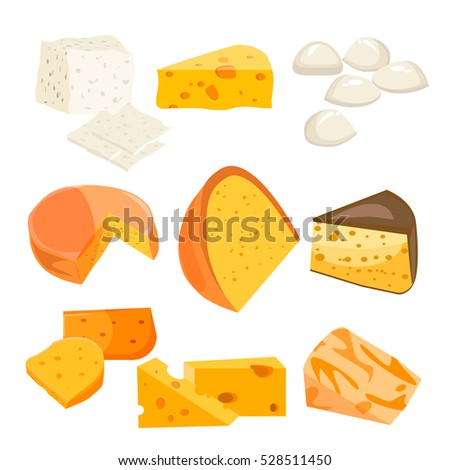 Cheese types. Modern flat style realistic vector illustration icons isolated on white background. Gourmet product white cheese slice. Food dairy slice gourmet cheese cheddar yellow snack piece.