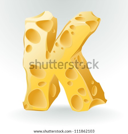 cheese vector abc letter k
