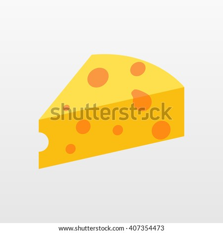 Cheese vector icon isolated on white background. Flat yellow milk food symbol for web site design, mobile app. Logo triangle block cheese illustration.