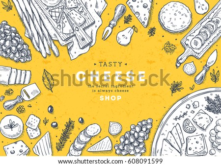 Cheese vertical banner collection. Antipasto table background. Engraved style illustration. Hero image. Vector illustration
