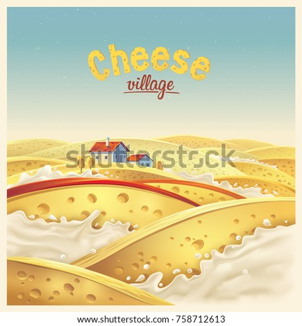 Cheese village - fictional landscape. Cheese slices in the milk splashes, vector illustration.