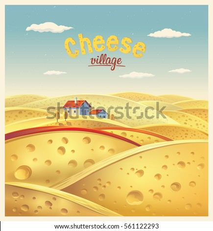 Cheese village. Vector illustration of a fictional landscape of the cheese slices.
