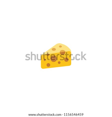 Cheese Wedge Vector Flat Icon. Cheese Slice Vector