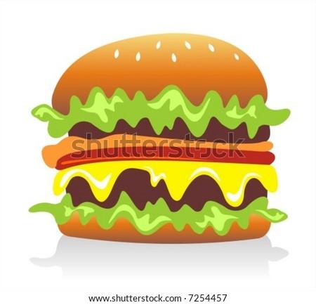 Cheeseburger / hamburger on white background. Digital illustration. - stock vector