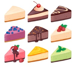 Cheesecake set vector illustration 3D Colorful sweet cakes