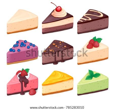 cheesecake set vector