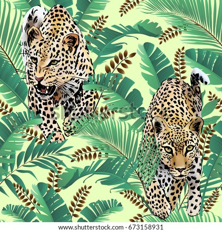 cheetah and leopards palm leaves tropical watercolor in the jungle seamless vector background