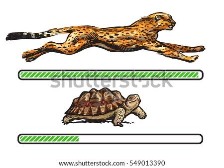 Cheetah and turtle. Fast and slow loading bar. Concept of fast internet .connection.Cartoon style hand drawn vector illustration isolated on white background.