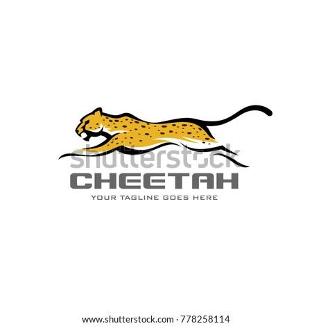 cheetah fast run logo vector
