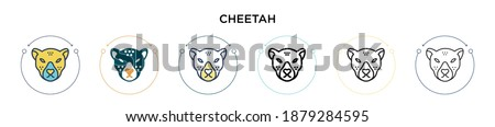 Cheetah icon in filled, thin line, outline and stroke style. Vector illustration of two colored and black cheetah vector icons designs can be used for mobile, ui, web