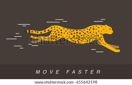 Cheetah running side flat icon design , vector