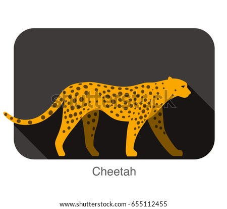 cheetah walking side flat 3d