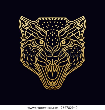 Cheetah / Wolf / Wild animal / line art illustration