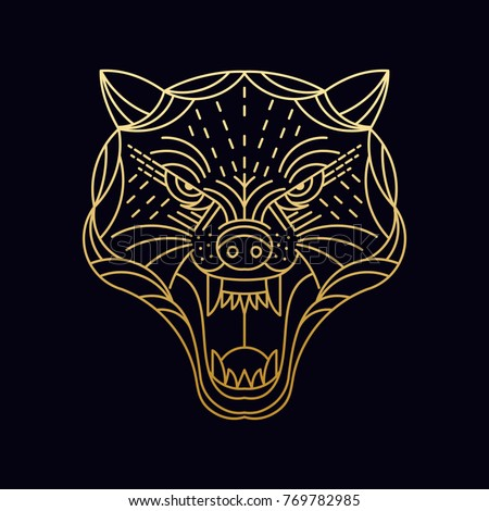 Cheetah / Wolf / Wild animal / line art illustration