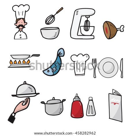 chef and kitchen cartoon drawing icons set stock vector