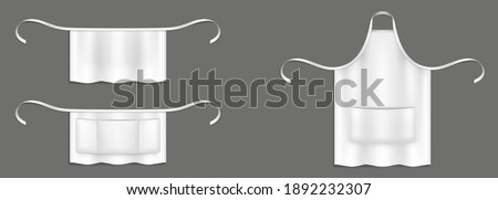 Chef aprons, white cook uniform 3d vector mockup. Kitchen or bakery staff bibs or pinafore with front pocket and strings isolated realistic templates. Restaurant, cafe or barbecue party garment design Stockfoto ©