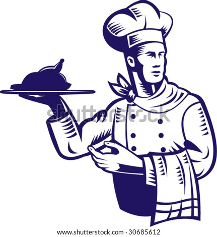 Chef carrying a plate of food