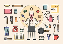 Chef character and cooking tools icon set. flat design style minimal vector illustration.