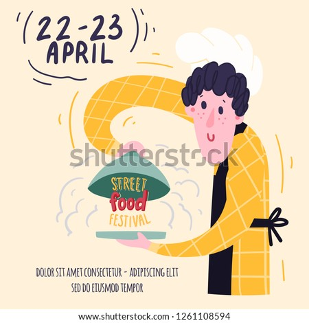 Chef concept for the festival of street food with a dish of cloche food cover. Advertising, poster, banner or flyer template. Hand-drawn illustration and lettering. Stock vector