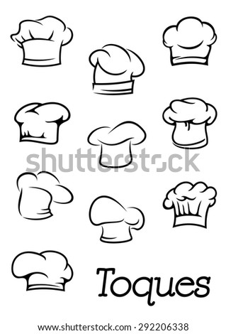 Chef, cook or baker traditional professional toques and hats in outline sketch style for restaurant menu or cooking design Foto stock ©