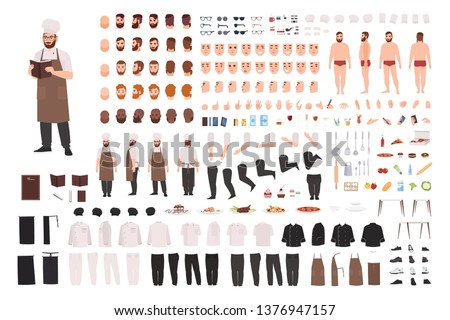 Chef, cook or kitchen worker constructor set or creation kit. Bundle of body parts, facial expressions, postures, uniform. Male cartoon character. Front, side, back views. Flat vector illustration.