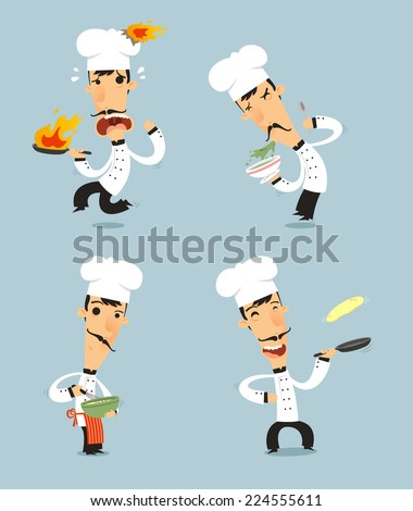 Chef Cook Set 2 with pan bowl stir fire pan vector illustration Also with chef hat chef uniform mustache