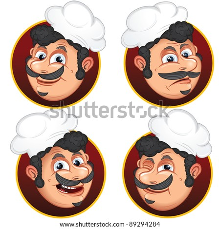 Chef Cook, vector cartoon illustrations