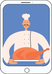Chef cook with turkey on the screen. Vector stock illustration isolated on white background for online cooking education, culinary course, cooking school.
