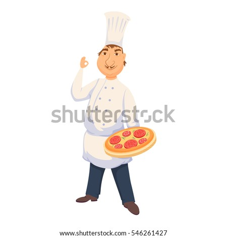 chef cooking italian pizza in