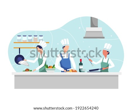 Chef cooking the dish. Professional chef prepares in kitchen, Food cooking and vegetable prepare. Restaurant kitchen with culinary staff, People cooking on kitchen table. Vector in a flat style